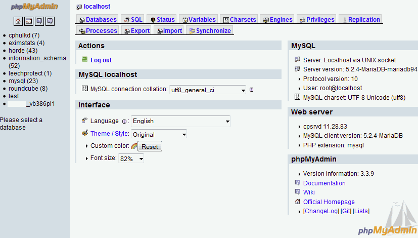 Cpanel phpmyadmin updated for MariaDB 5.2.4