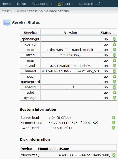 WHM/Cpanel MariaDB MySQL 5.2.4 Installed