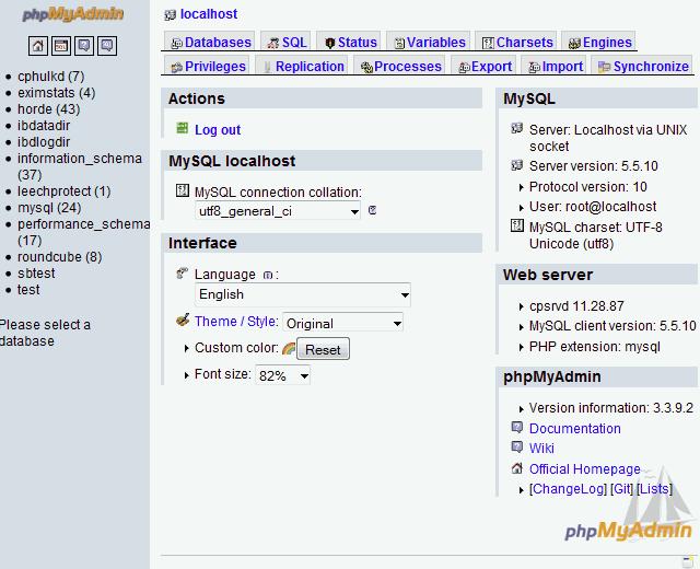MySQL 5.5.10 installed on WHM Cpanel phpmyadmin