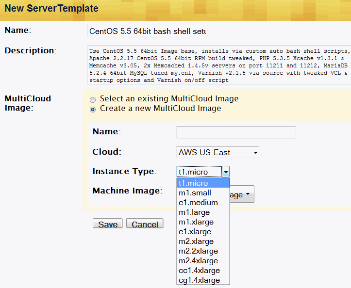 Rightscale managed Amazon EC2 server instance - creating rightscale server template