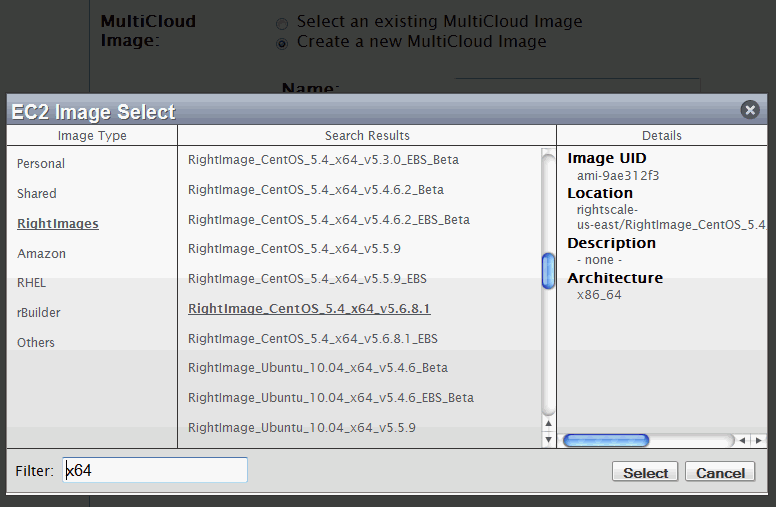 Rightscale managed Amazon EC2 server instance - selecting rightscale OS image