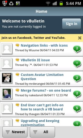 Android Market: vBulletin Android Mobile App v1 1 0 732
